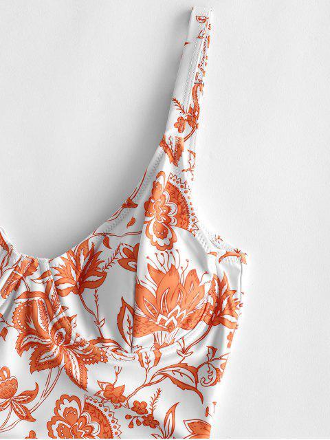 ZAFUL Bohemian Flower Cut Out Bata traje de baño - Mango Naranja S Mobile