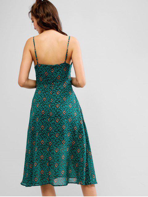 ZAFUL Robe Graphique Sans Manches à Bretelle - Bleu Verdâtre M Mobile