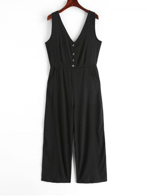 women's V Neck Buttons Solid Wide Leg Jumpsuit - BLACK M Mobile