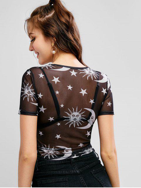 T-shirt Court Lune et Soleil en Maille - Blanc L Mobile