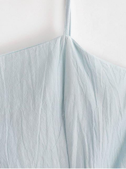 new Ruffles Asymmetric Tie Straps Solid Dress - JEANS BLUE XL Mobile