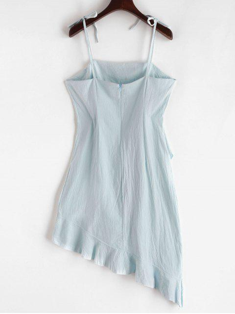 outfit Ruffles Asymmetric Tie Straps Solid Dress - JEANS BLUE L Mobile