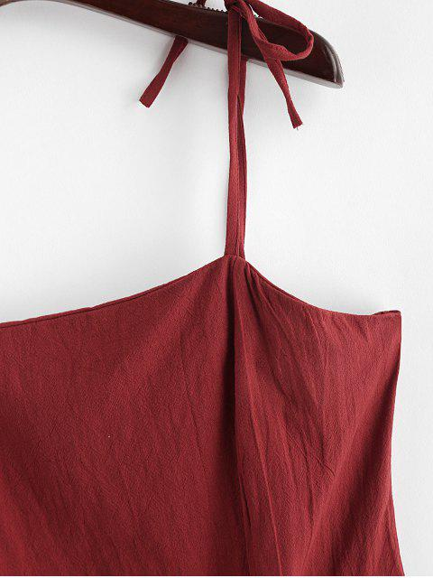outfit Ruffles Asymmetric Tie Straps Solid Dress - RED WINE XL Mobile