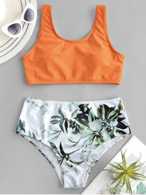 affordable ZAFUL Plant Print Mix and Match Tankini Swimsuit - MANGO ORANGE S Mobile