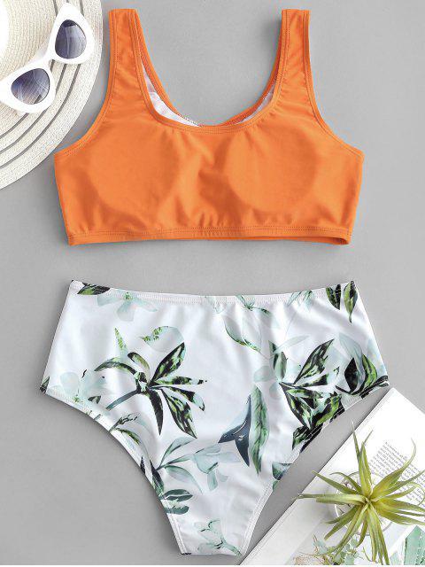 ZAFUL植物印花混合搭配Tankini泳衣 - 芒果橙 S Mobile