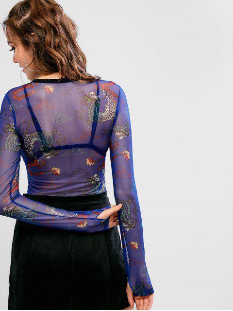 T-shirt à manches longues à imprimé dragon - Bleu Cobalt M Mobile
