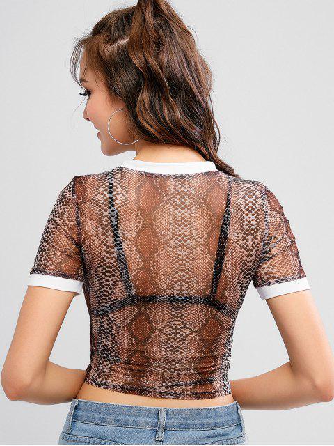 T-shirt Court Serpent Imprimé en Maille - Multi-A S Mobile
