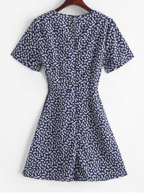 chic V Neck Knotted Tiny Floral Flare Dress - DEEP BLUE M Mobile