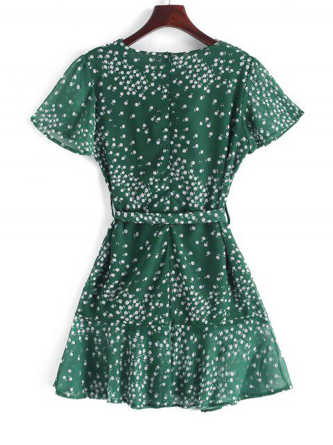 fancy Ruffles Tiny Floral Belted Surplice Dress - MEDIUM SEA GREEN M Mobile