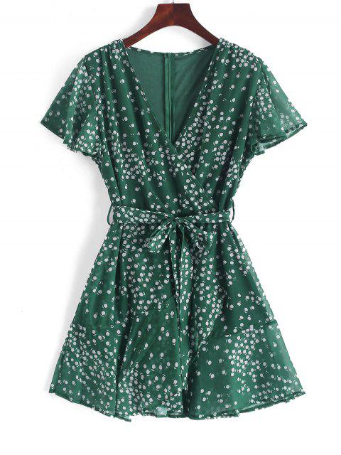 fashion Ruffles Tiny Floral Belted Surplice Dress - MEDIUM SEA GREEN S Mobile