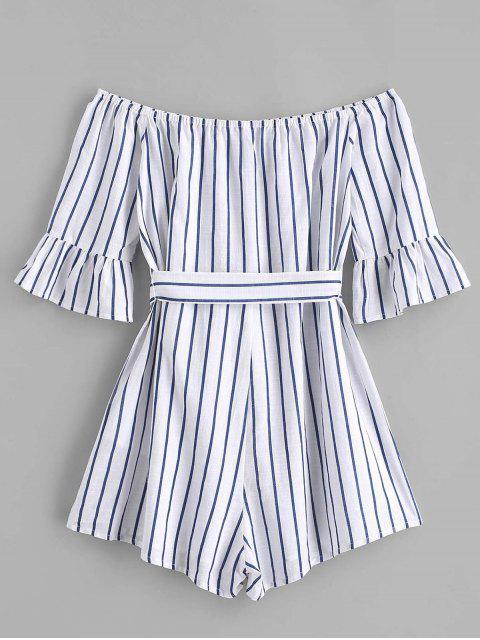 latest ZAFUL Flare Sleeve Off Shoulder Stripes Romper - COBALT BLUE L Mobile