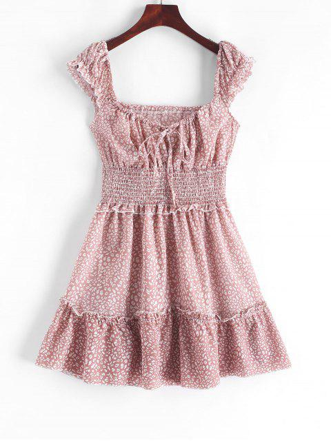 new Smocked Printed Sleeveless A Line Dress - PINK S Mobile