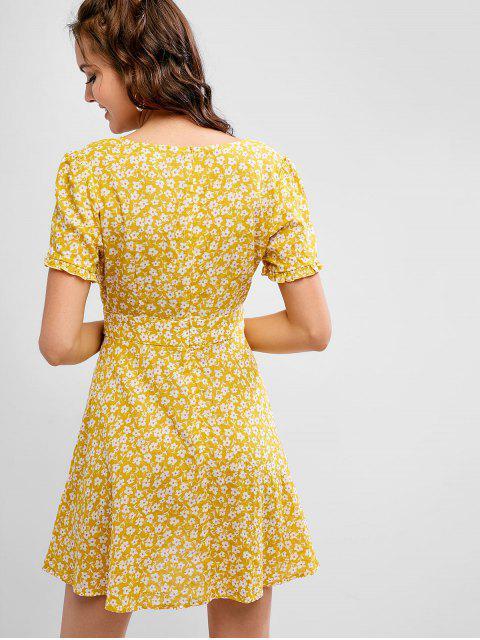 fancy ZAFUL Tie Waist Floral Plunge Mini Dress - GOLDENROD S Mobile