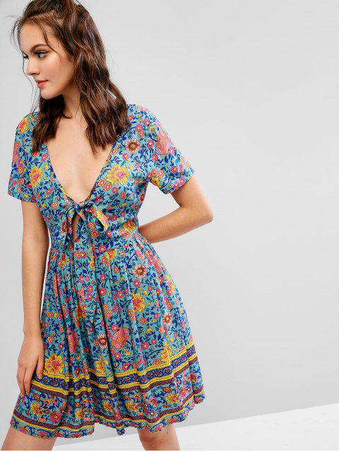 ZAFUL Robe Plongeante Nouée Fleurie Style Bohémien - Multi M Mobile