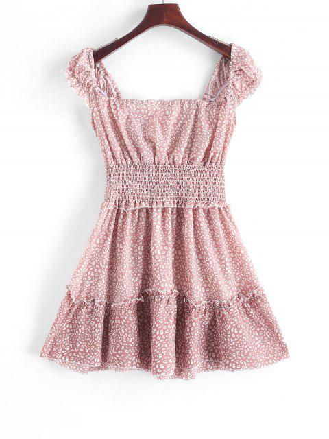 Gedruktes Ärmelloses Eine Linien Kittel Kleid - Rosa XS Mobile