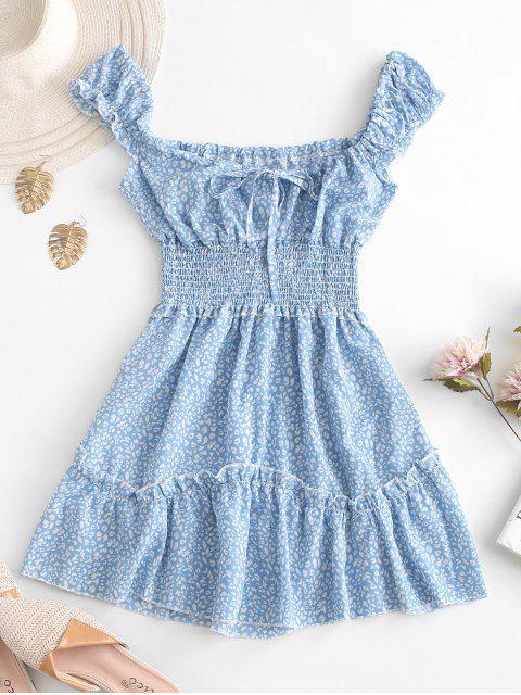 shop Smocked Printed Sleeveless A Line Dress - LIGHT BLUE XL Mobile