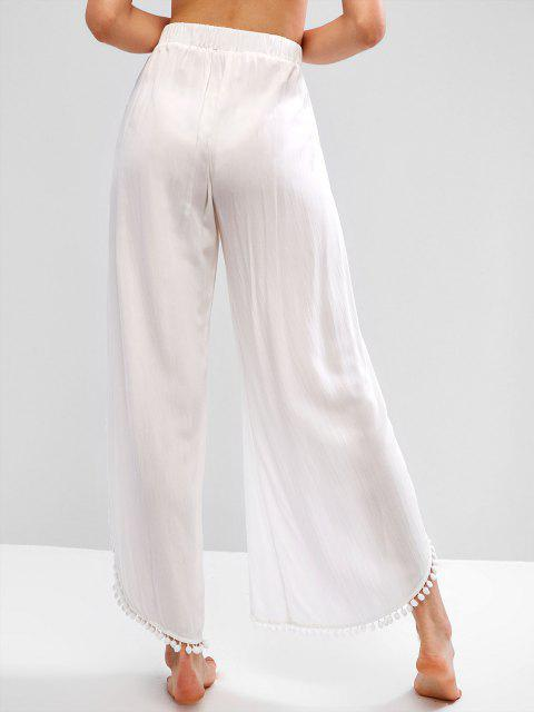 unique ZAFUL Pom Pom High Waisted Tulip Pants - WHITE S Mobile