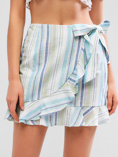047c0a01e4 ZAFUL Overlap Stripes Ruffles Mini Skirt - Multi M ...
