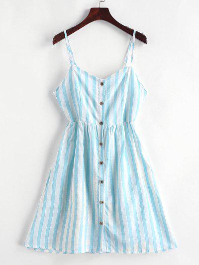 Robe Boutonnée Rayée Nouée Au Dos à Bretelle - Bleu Tron Xl