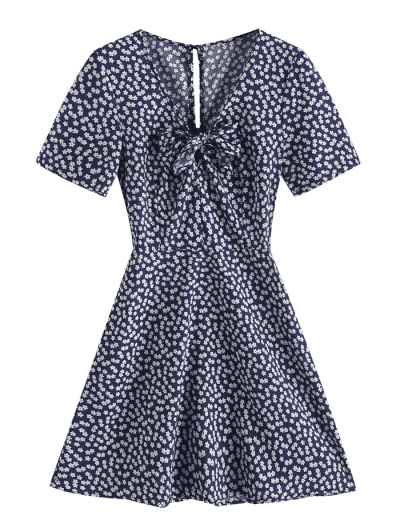 V Neck Knotted Tiny Floral Flare Dress, Deep blue