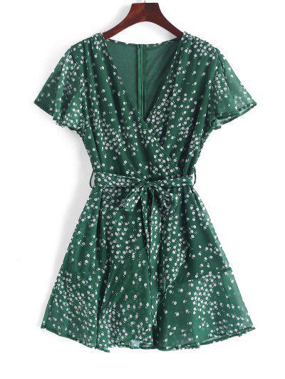982dbe33458 Ruffles Tiny Floral Belted Surplice Dress - Medium Sea Green L ...