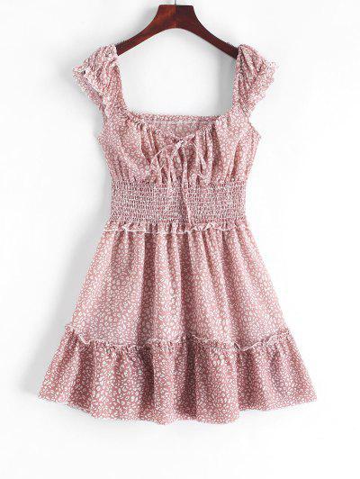 Smocked Printed Sleeveless A Line Dress - Pink S