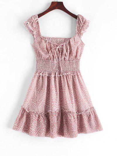 Smocked Printed Sleeveless A Line Dress - Pink Xs