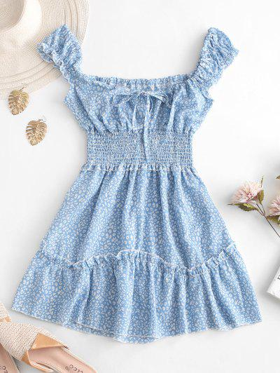 Smocked Printed Sleeveless A Line Dress - Light Blue S
