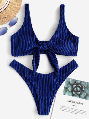 ZAFUL Ribbed Velvet Tied Plunging Bikini Swimsuit - Cobalt Blue S