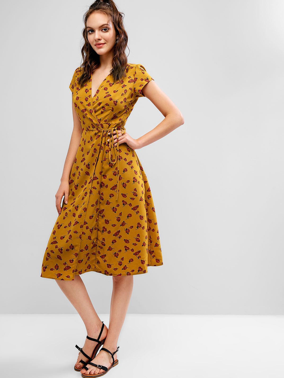 V Neck Floral Wrap A Line Dress, Yellow