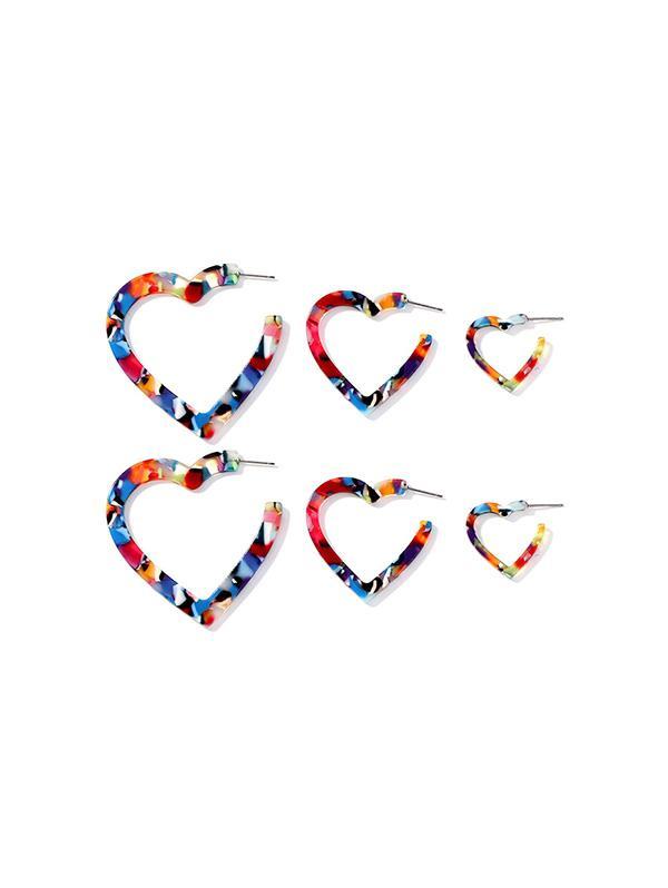 3Pairs Camo Love Heart Stud Earrings Set