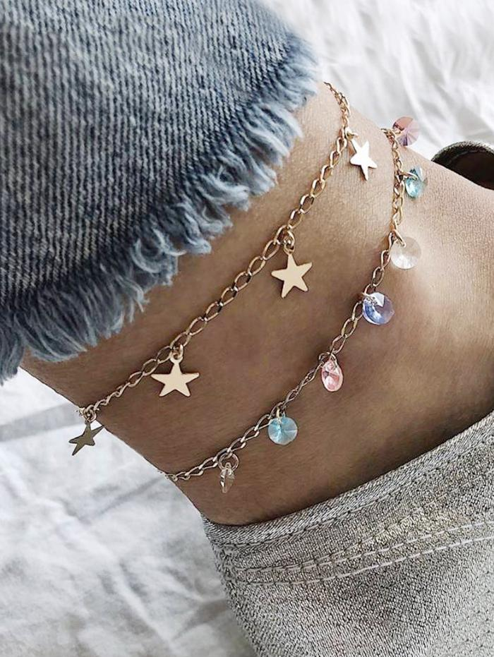 Double Layer Faux Crystal Chain Anklet