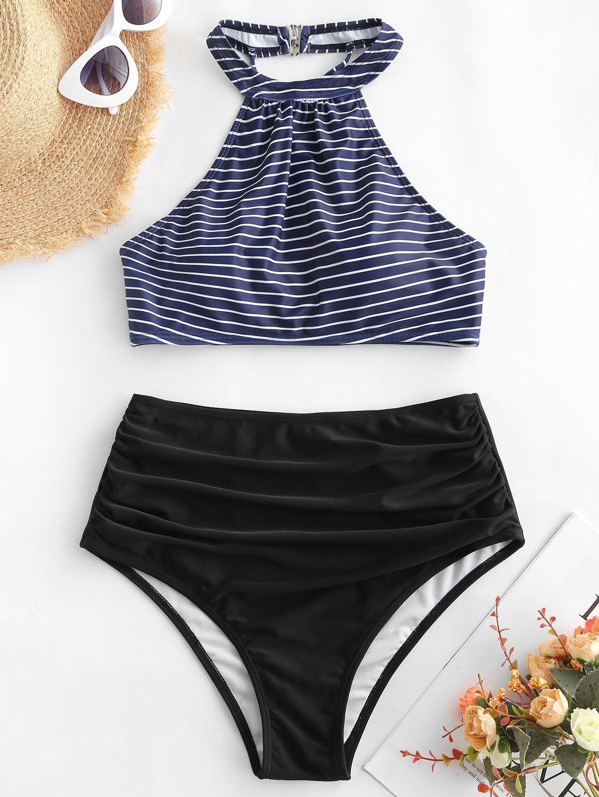 zaful Striped Crisscross High Waisted Tankini Swimsuit