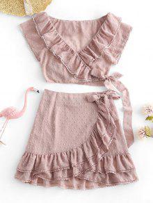 ZAFUL Crochet Trim Swiss Dots Wrap Top And Ruffles Skirt Set