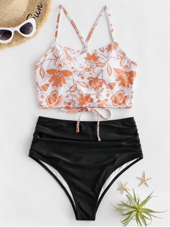 shops ZAFUL Bohemian Flower Lace Up Tummy Control Tankini Swimsuit - MANGO ORANGE L