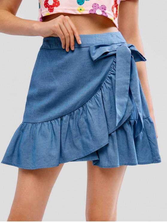 sale ZAFUL Chambray Ruffle Belted Skirt - DENIM BLUE M