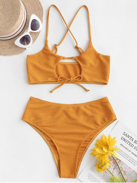 latest ZAFUL Textured Cutout Tie Bralette Bikini Swimsuit - BEE YELLOW M
