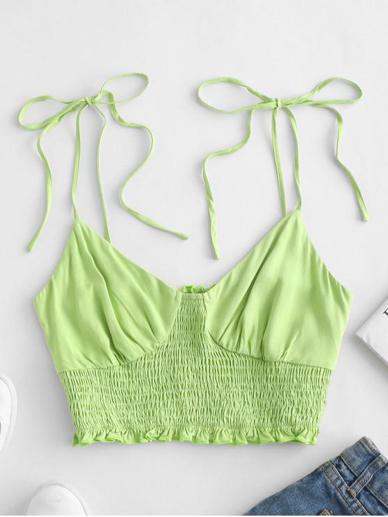 fancy ZAFUL Smocked Tie Shoulder Crop Camisole - TEA GREEN S