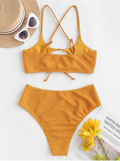 ZAFUL Texturizado Recorte Gravata Bralette Bikini Swimsuit - Abelha Amarela M Mobile