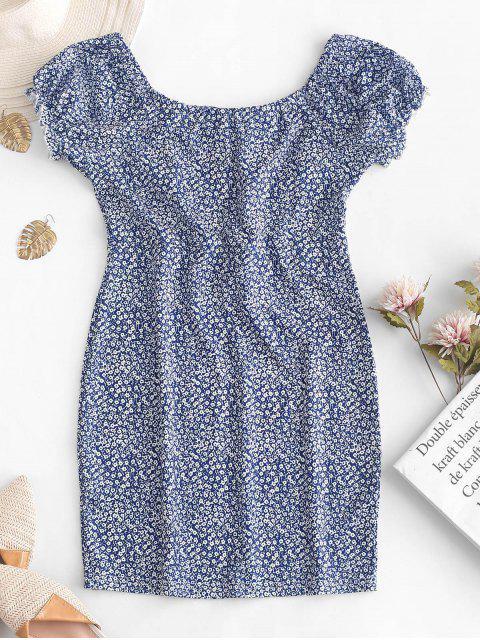 women Scoop Neck Tiny Floral Sheath Dress - DEEP BLUE M Mobile