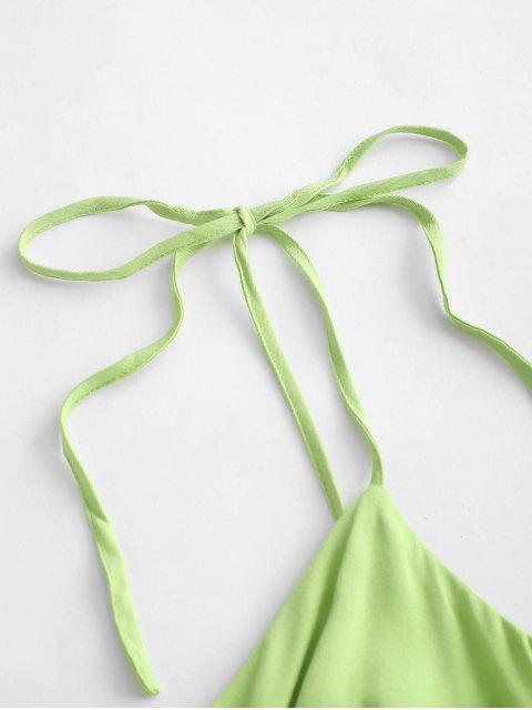 ZAFUL Smocked Tie Shoulder Cultole Camisole - Té Verde S Mobile