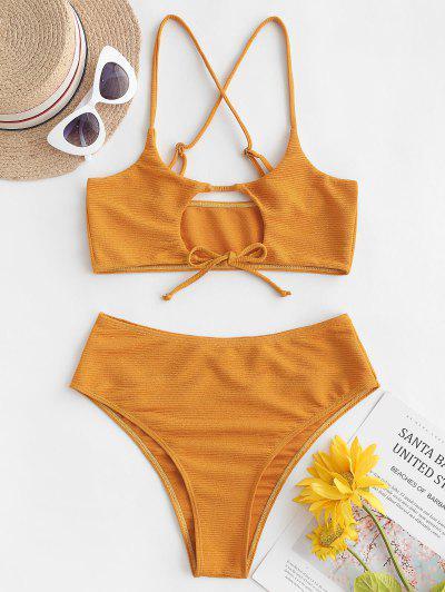 ZAFUL Textured Cutout Tie Bralette Bikini Swimsuit - Bee Yellow M