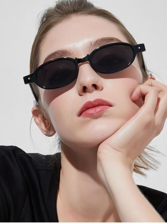 sale Oval Frame Rivet Design Sunglasses - BLACK