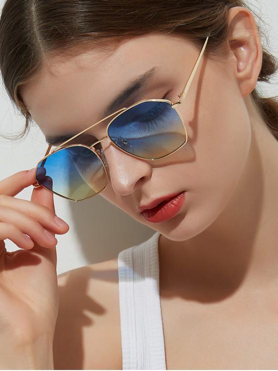 lady Metal Stylish Irregular Frame Sunglasses - BLUE GRAY