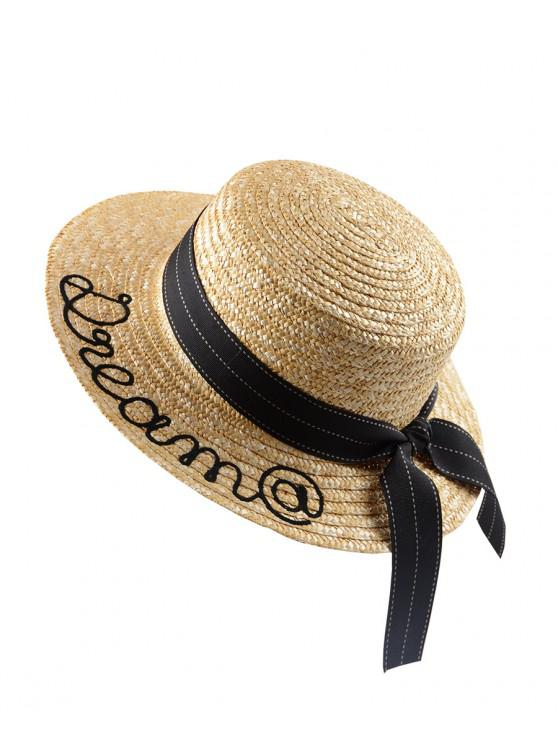 5cc15fe6 23% OFF] [NEW] 2019 Bow Decor Embroidery Straw Hat In LIGHT BROWN ...