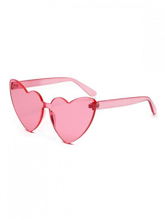 best Integral Heart Shape Rimless Sunglasses - PINK