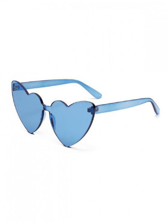 chic Integral Heart Shape Rimless Sunglasses - OCEAN BLUE