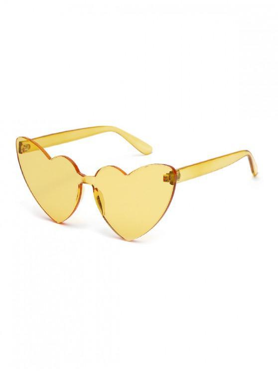 Gafas de sol sin montura con forma de corazón integral - Amarillo