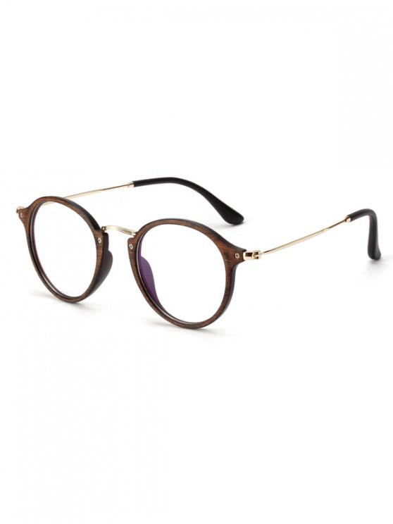 women Round Wooden Print Student Glasses - BROWN