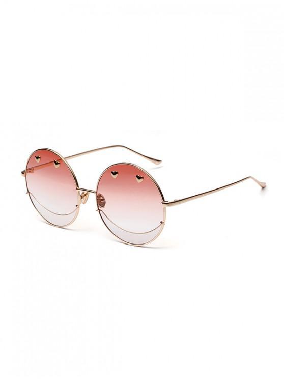 Gafas de sol redondas Ombre de metal de Small Heart - Rosa Claro